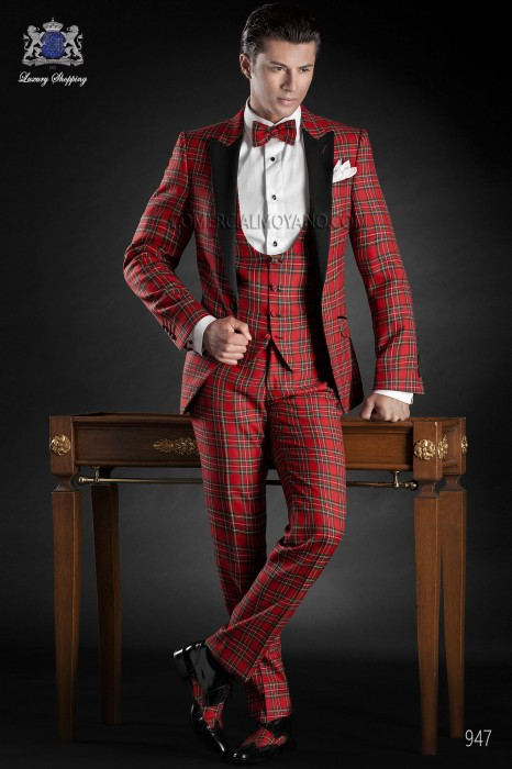 Red tartan plaid suit