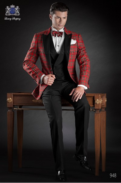 Red tartan plaid suit with black satin lapel
