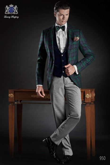 Blue tartan plaid suit with notch lapel