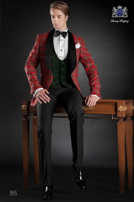 Red tartan plaid suit with shawl lapel