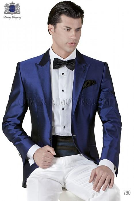 Italian blue silk wedding tuxedo