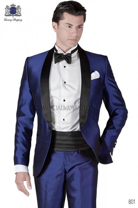 Italian royal blue silk tuxedo