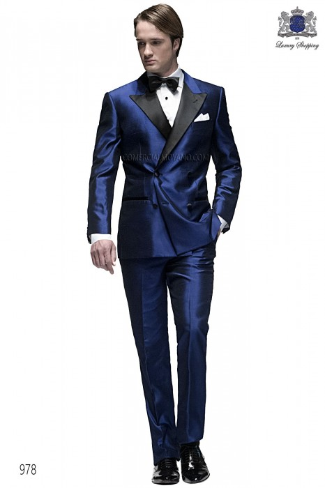 Royal blue silk double-breasted tuxedo