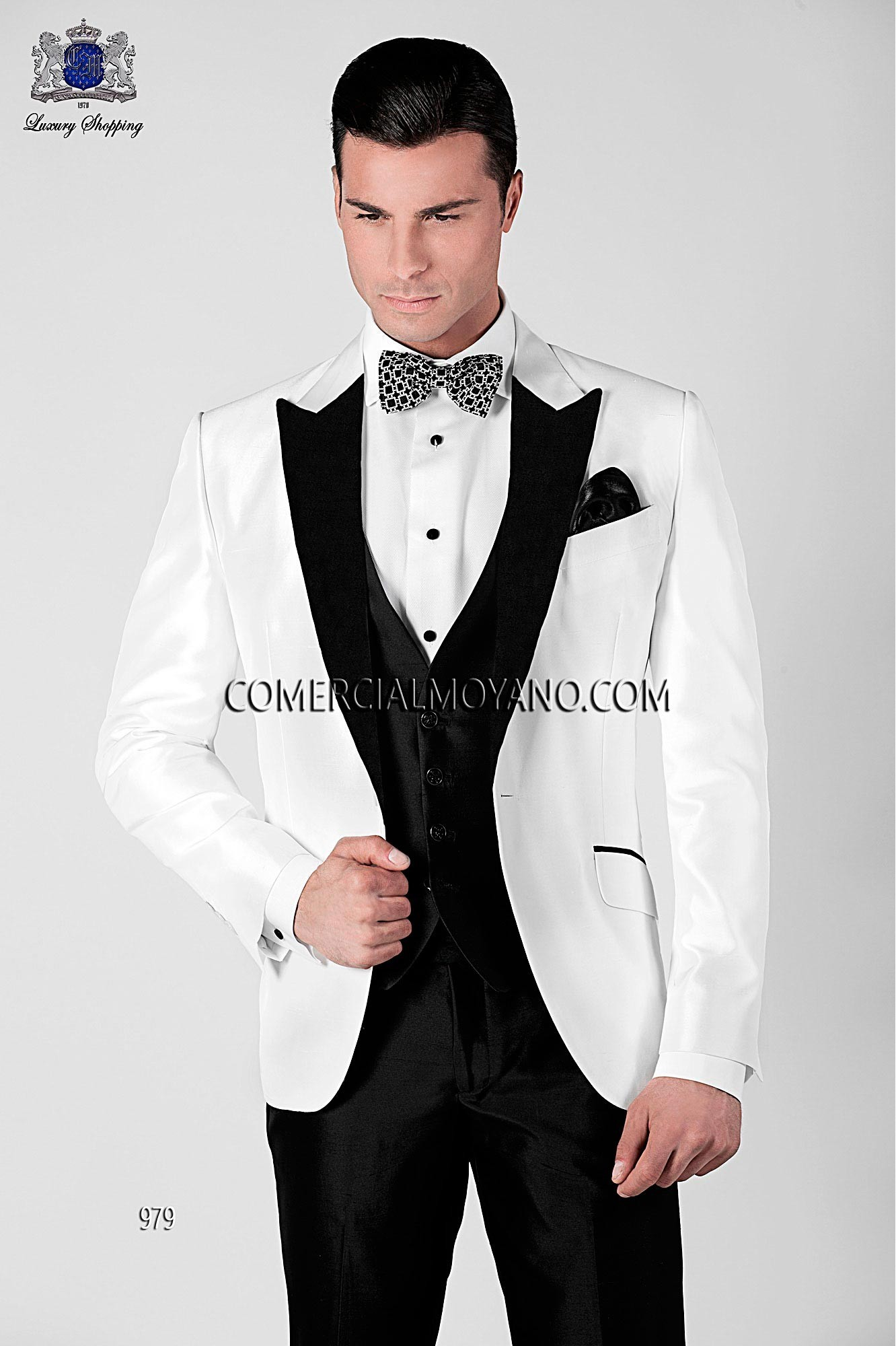 Italian white tuxedo wedding suit in Shantung silk fabric with black satin lapel and black trousers, style 979 Ottavio Nuccio Gala, Black Tie collection.