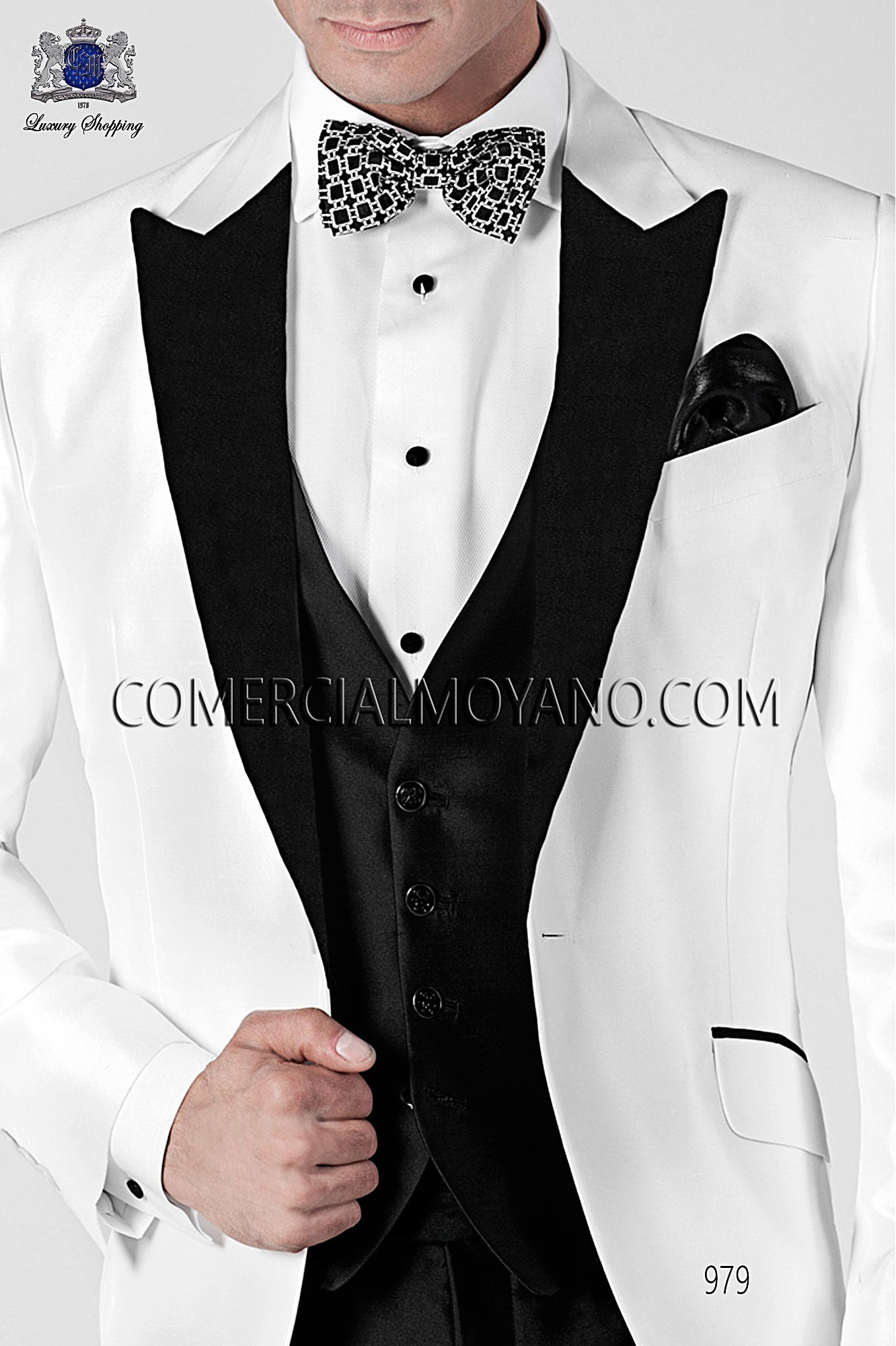 Traje BlackTie de novio blanco modelo: 979 Ottavio Nuccio Gala colección Black Tie