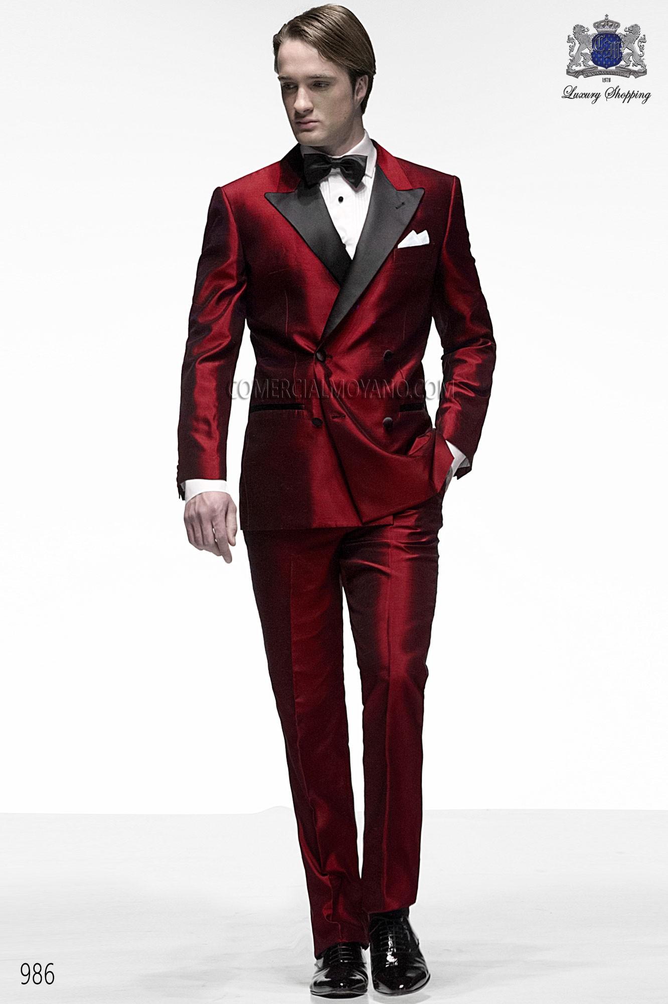 Italian bespoke suit, red wedding tuxedo style 986 ONGala.