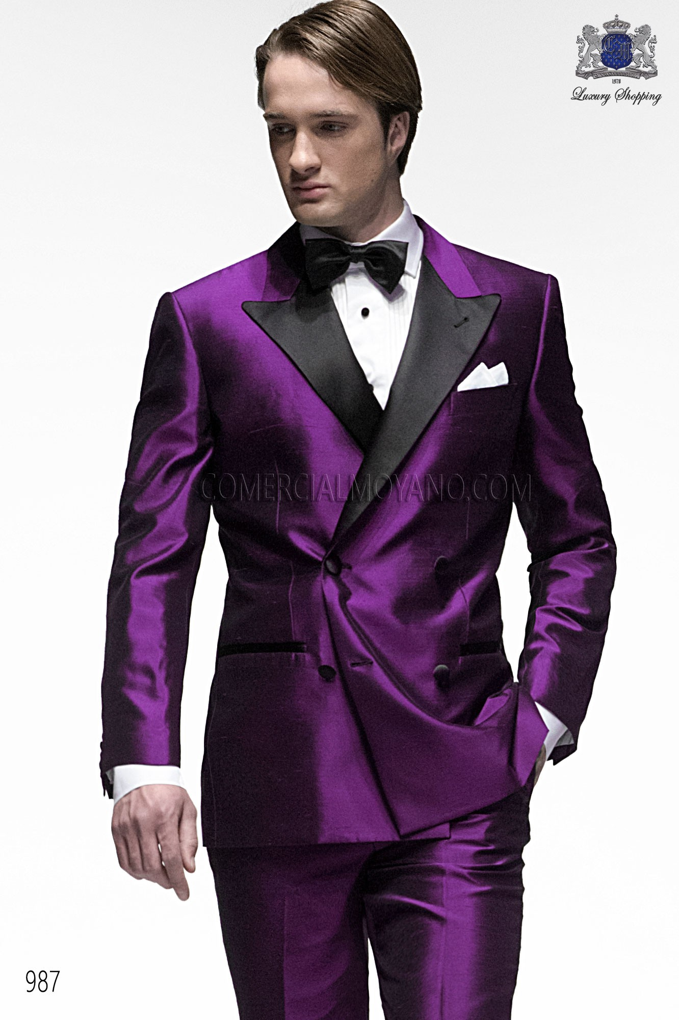 Italian bespoke suit, purple wedding tuxedo style 987 ONGala.