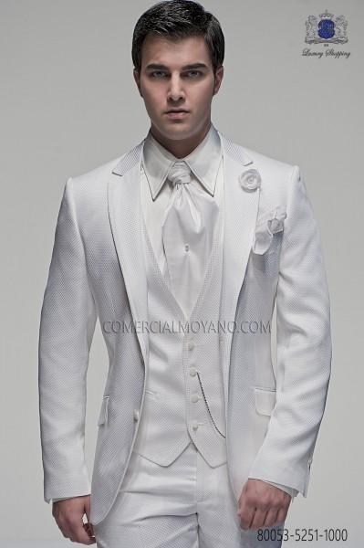 White italian men wedding suit 3pz