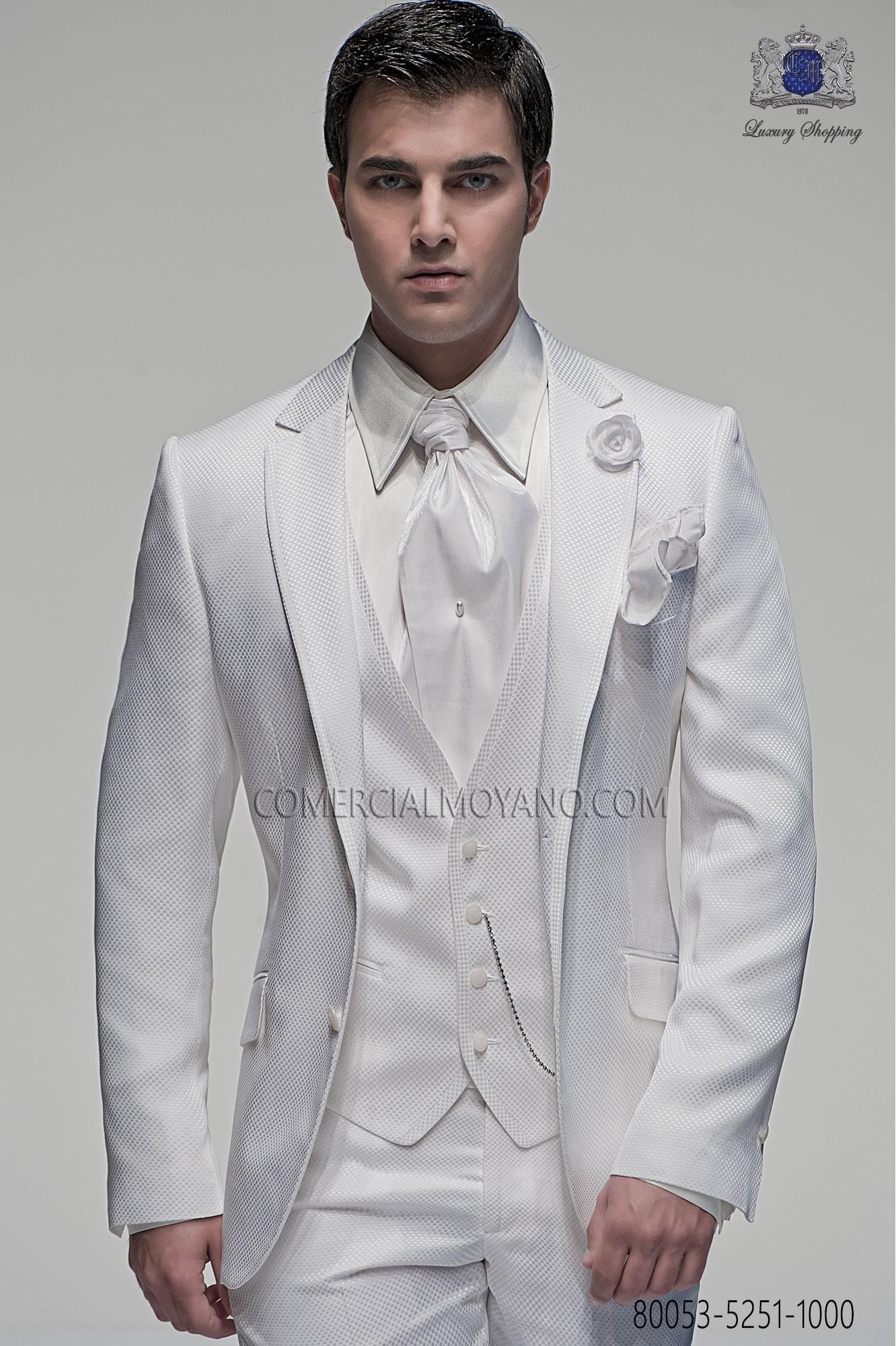 Traje de novio italiano a medida blanco cuadros ottavio for Trajes de novio blanco para boda
