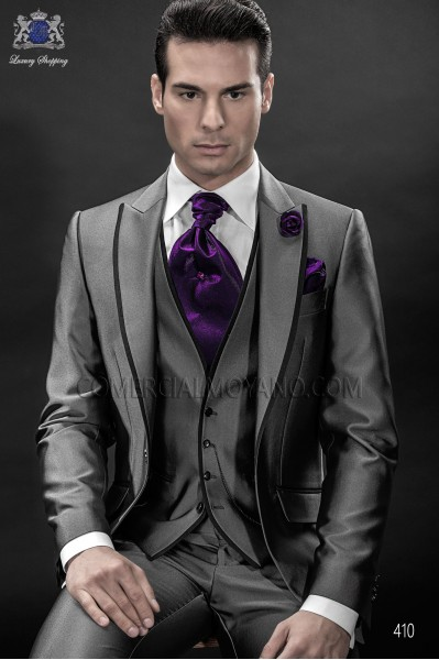 Italian gray high fashion men suit 3pz