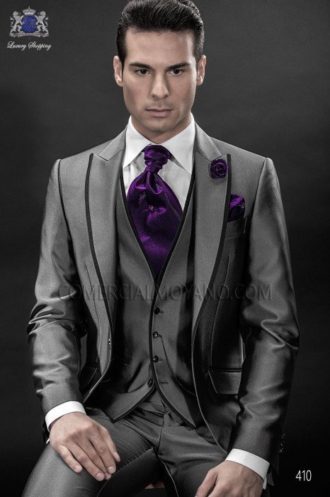 Italian gray high fashion men suit 3pz