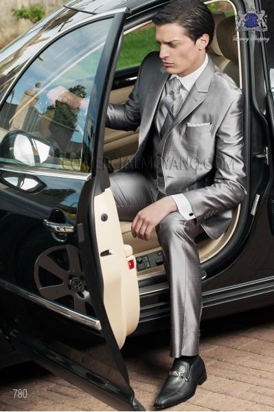 Italian gray wedding suit 3 pieces