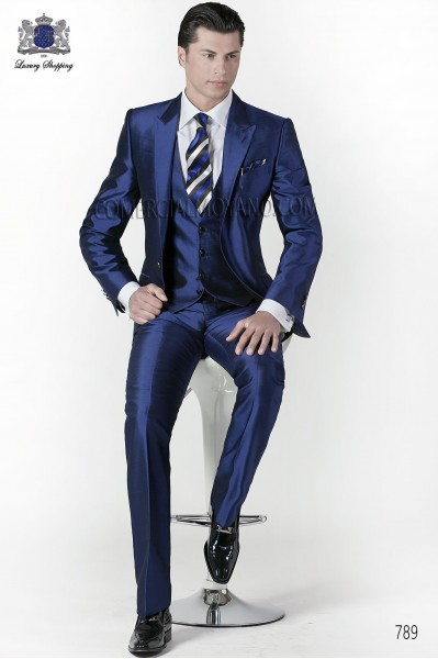 Italian blue wedding suit 3 pieces