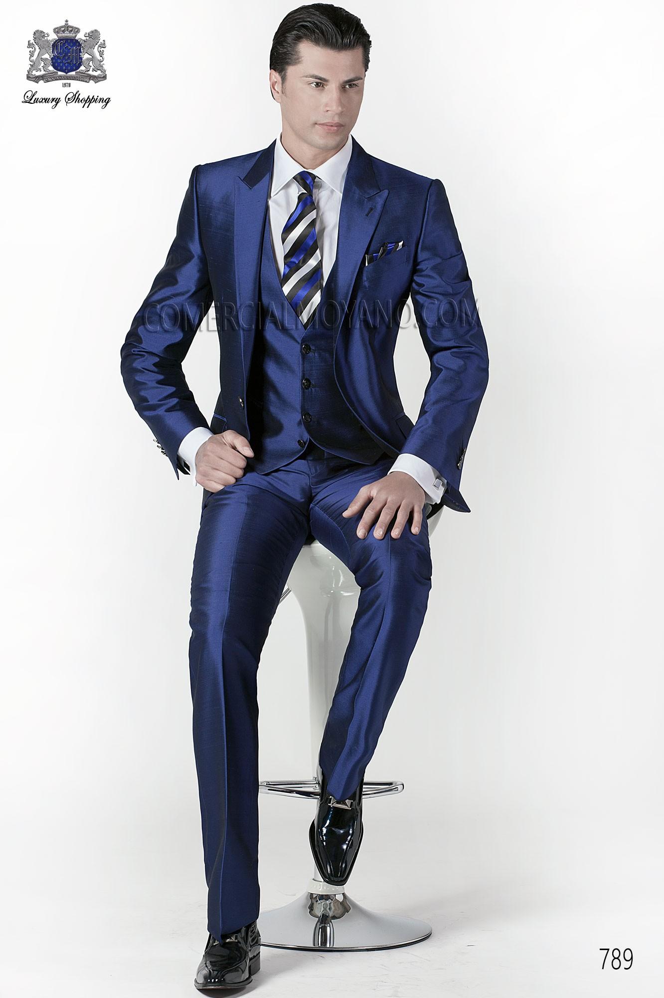 Italian bespoke blue suit 3 pieces, style 789 Ottavio Nuccio Gala