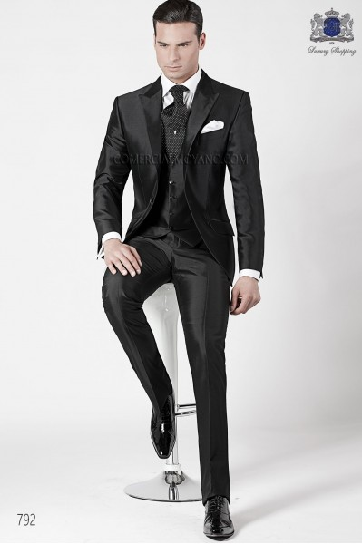 Italian fashion black men wedding suit style 792 Ottavio Nuccio Gala