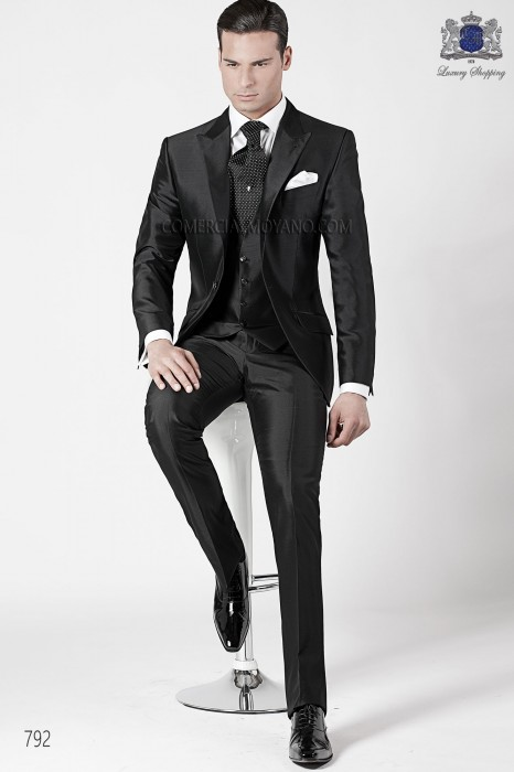 Italian black wedding suit 3 pieces