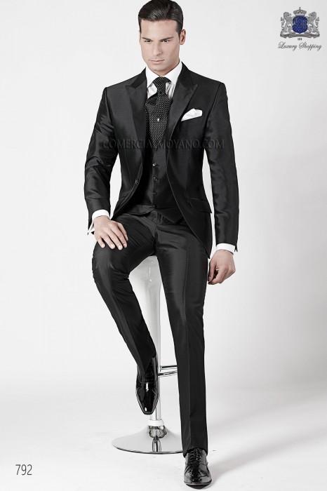 Italian black wedding suit 3 pieces