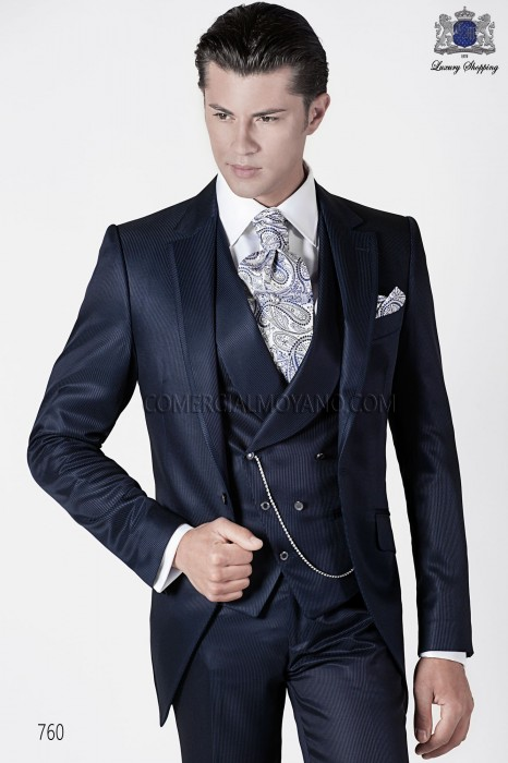 Italian blue short frock groom suit
