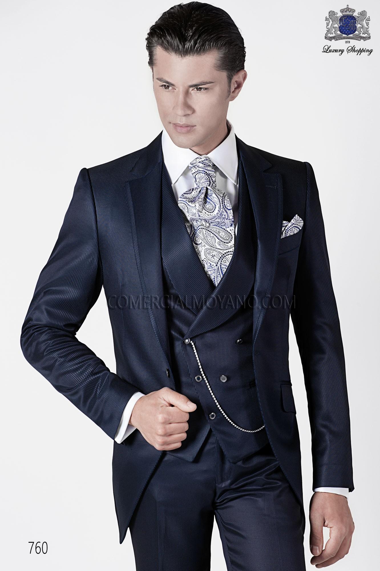 Italian short frock blue wedding suit style 760 Ottavio Nuccio Gala.