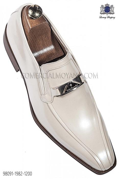 Ivory patent leather men shoes 98091-1982-1200 Ottavio Nuccio Gala.
