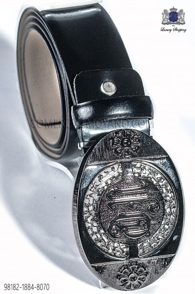 Black belt with baroque buckle 98182-1884-8070 Ottavio Nuccio Gala.