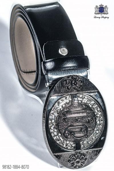 Black belt with baroque buckle 98182-1884-8070 Ottavio Nuccio Gala.
