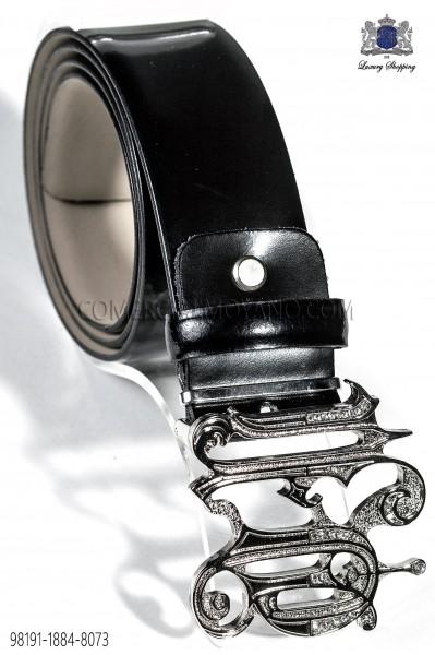 Cinturón cuero negro hebilla ONGala 98191-1884-8073 Ottavio Nuccio Gala.
