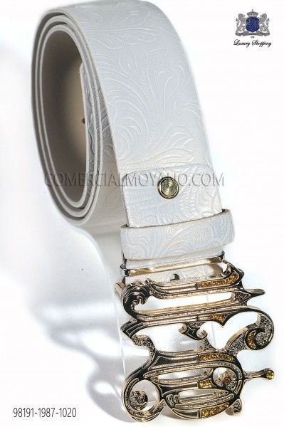 Ivory belt with gothic buckle 98191-1987-1020 Ottavio Nuccio Gala.