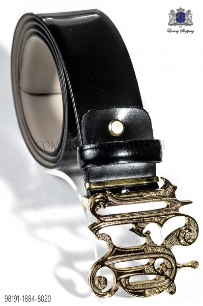 Black belt with gold ON baroque buckle 98191-1884-8020 Ottavio Nuccio Gala.