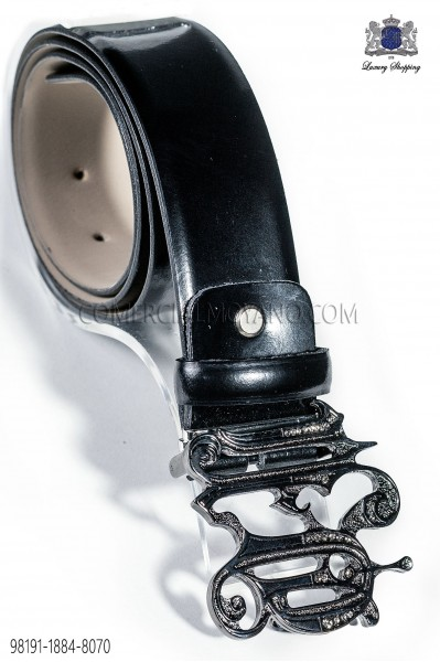 Black belt with gunmetal grey ON baroque buckle 98191-1884-8070 Ottavio Nuccio Gala.