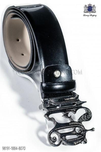 Cinturon negro hebilla ON barroco cañon de fusil 98191-1884-8070 Ottavio Nuccio Gala.