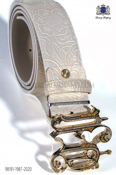 Beige damask leather belt with ON buckle 98191-1987-2020 Ottavio Nuccio Gala.