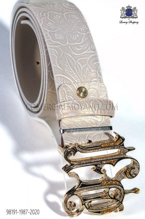 Beige damask leather belt with ON buckle 98191-1987-2020 Ottavio Nuccio Gala.