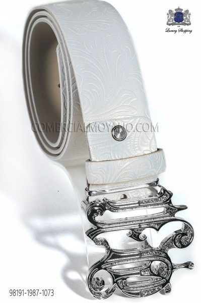 White damask belt with nickel ON buckle 98191-1987-1073 Ottavio Nuccio Gala.