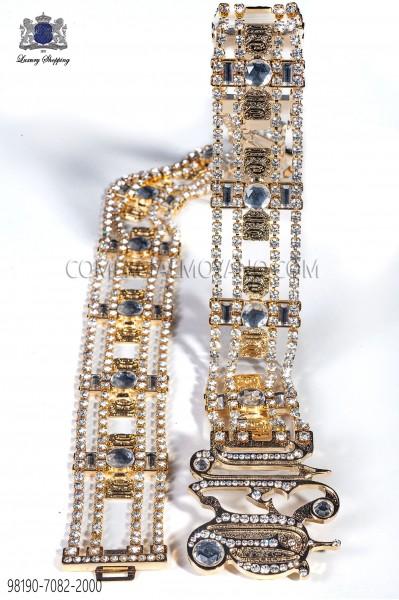 Gold-tone metal belt with crystals 98190-7082-2000 Ottavio Nuccio Gala.
