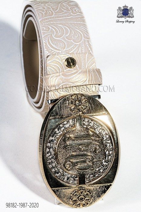 Beige damask belt with gold buckle 98182-1987-2020 Ottavio Nuccio Gala.