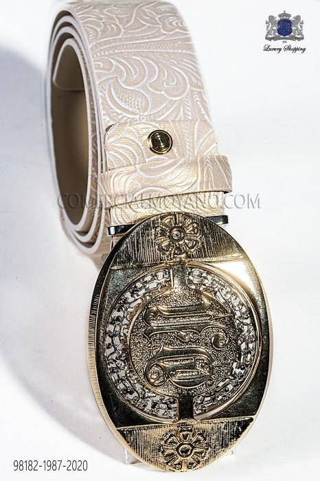 Beige damask belt with gold buckle 98182-1987-2020 Ottavio Nuccio Gala.
