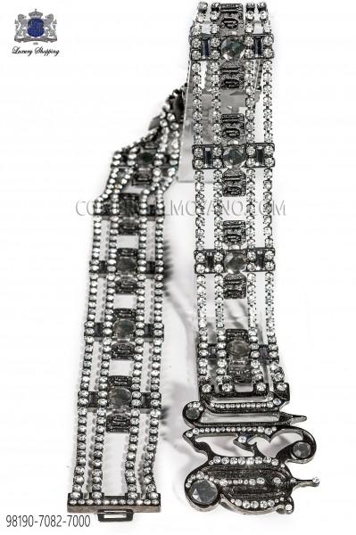 Cinturon metal con acabado cañon de fusil con strass 98190-7082-7000 Ottavio Nuccio Gala.