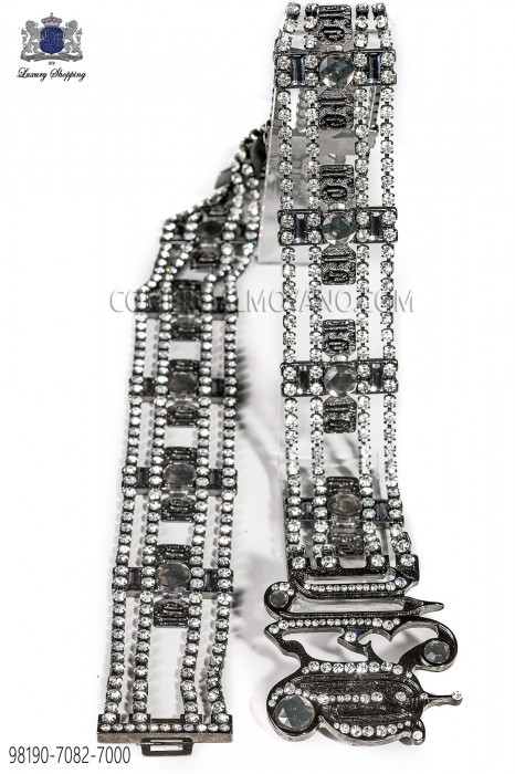 Gunmetal grey belt with crystals 98190-7082-7000 Ottavio Nuccio Gala.