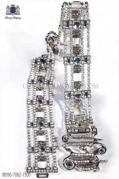 Nickel-tone belt with clear crystals 98190-7082-7300 Ottavio Nuccio Gala.
