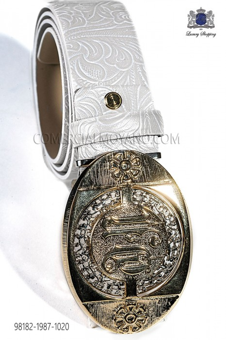 White damask belt with gold buckle 98182-1987-1020 Ottavio Nuccio Gala.