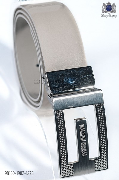 Ivory patent leather belt 98180-1982-1273 Ottavio Nuccio Gala.