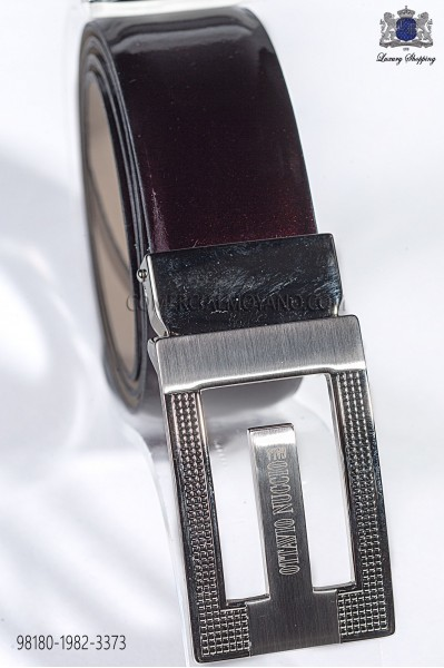 Burgundy patent leather belt 98180-1982-3373 Ottavio Nuccio Gala.