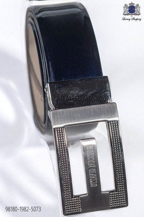 Navy blue patent leather belt 98180-1982-5073 Ottavio Nuccio Gala.