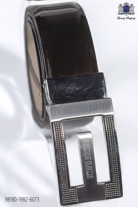 Brown patent leather belt 98180-1982-6073 Ottavio Nuccio Gala.