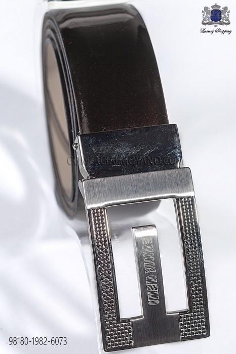Brown patent leather belt 98180-1982-6073 Ottavio Nuccio Gala.