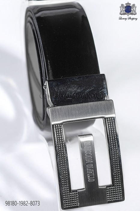 Black patent leather belt 98180-1982-8073 Ottavio Nuccio Gala.