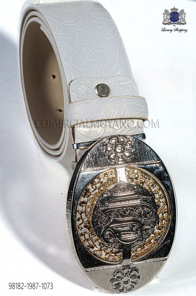 White damask belt with silver buckle 98182-1987-1073 Ottavio Nuccio Gala.