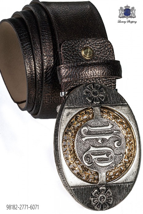 Brown damask belt with silver buckle 98182-2771-6071 Ottavio Nuccio Gala.