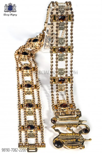 Gold-tone metal belt with gold crystals 98190-7082-2200 Ottavio Nuccio Gala.
